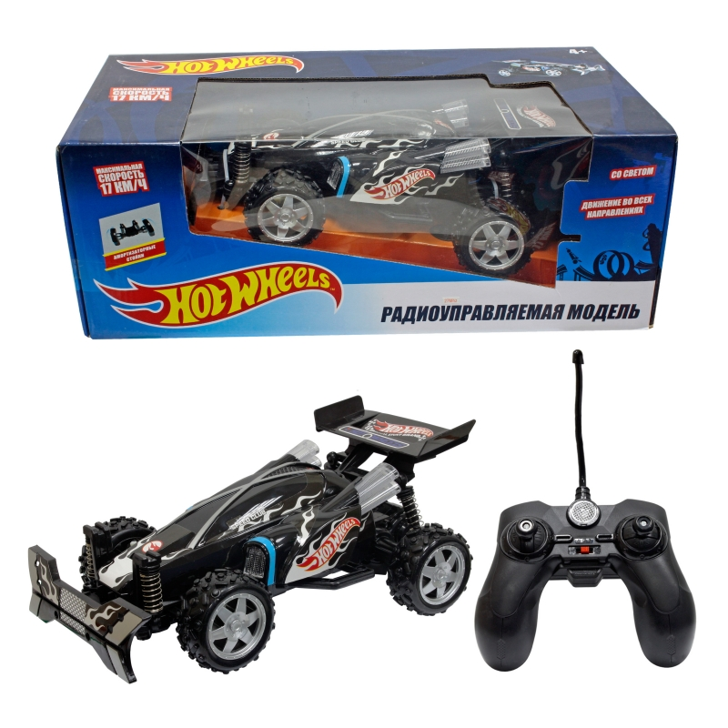 Купить Hot Wheels багги на р/у, cо светом, скорость до 17км/ч, чёрная [Т10984], Для мальчиков, Игрушки на радиоуправлении
