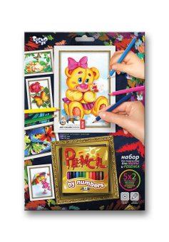 Купить ДАНКО-ТОЙС Набор для тв-ва раскраска карандашами по номерам Медвежонок [PBN-01-05], Danko toys, Украина, Раскраски