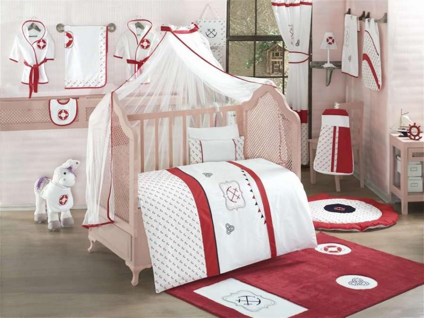 KIDBOO Комплект постельного белья Red Ocean (3 предмета) [00-0012144], красный, белый, Хлопок, Для мальчиков и девочек, Постельное белье для малышей  - купить со скидкой