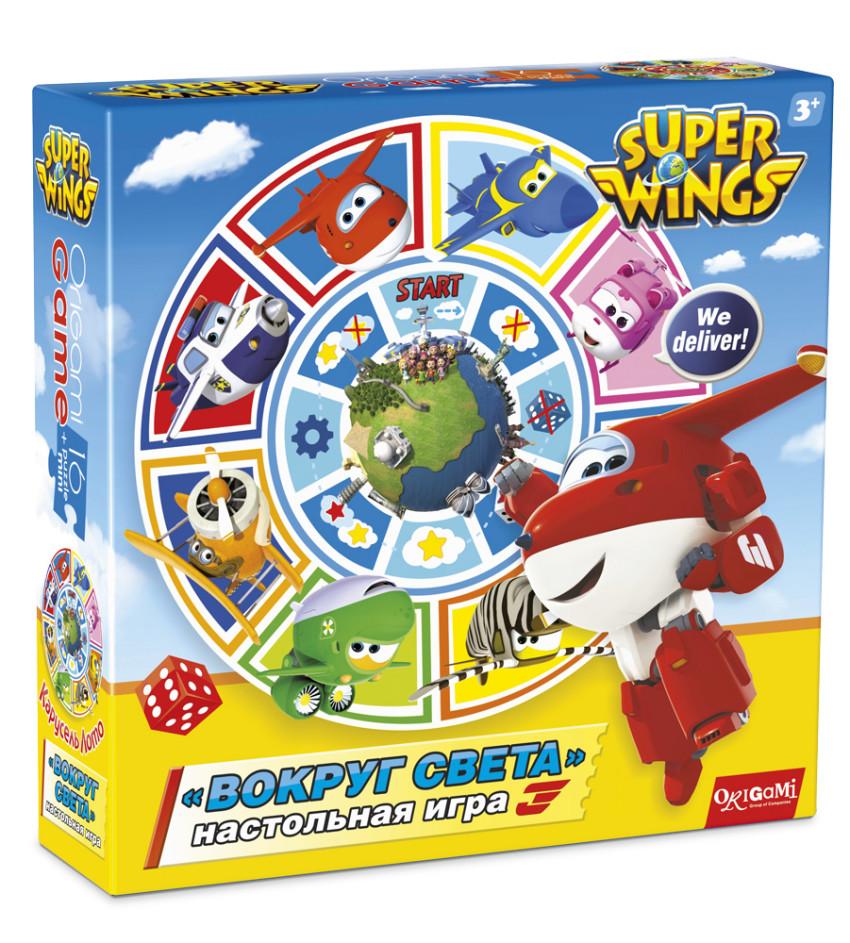 Купить ОРИГАМИ Настольная игра 2 в 1 SuperWings. Карусель-Лото. Вокруг света, [2992], пластик, Картон, Настольные игры