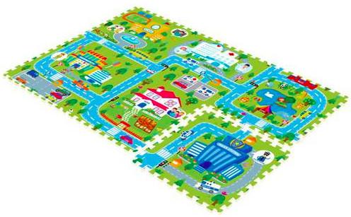 Купить MAMBOBABY Коврик-пазл Счастливый город (180х120 см) [70004], полипропилен, Китай, Развивающие коврики для малышей