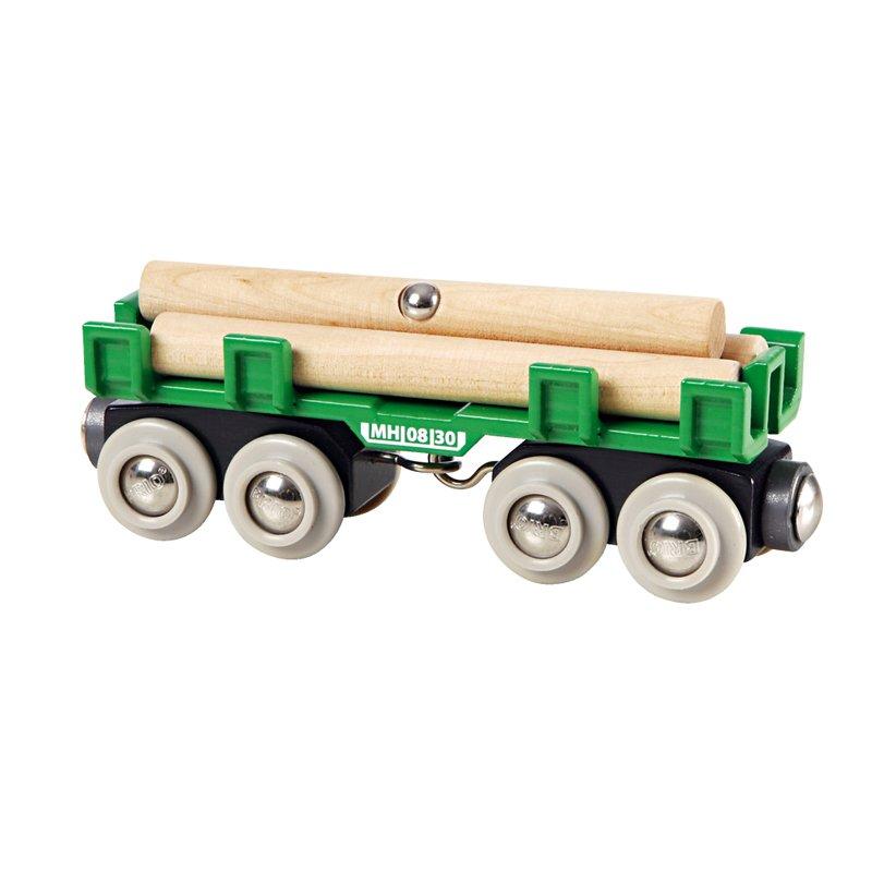 Купить Вагон с брёвнами (4 элемента) BRIO [33696], Для мальчиков и девочек, Наборы игрушечных железных дорог, локомотивы, вагоны