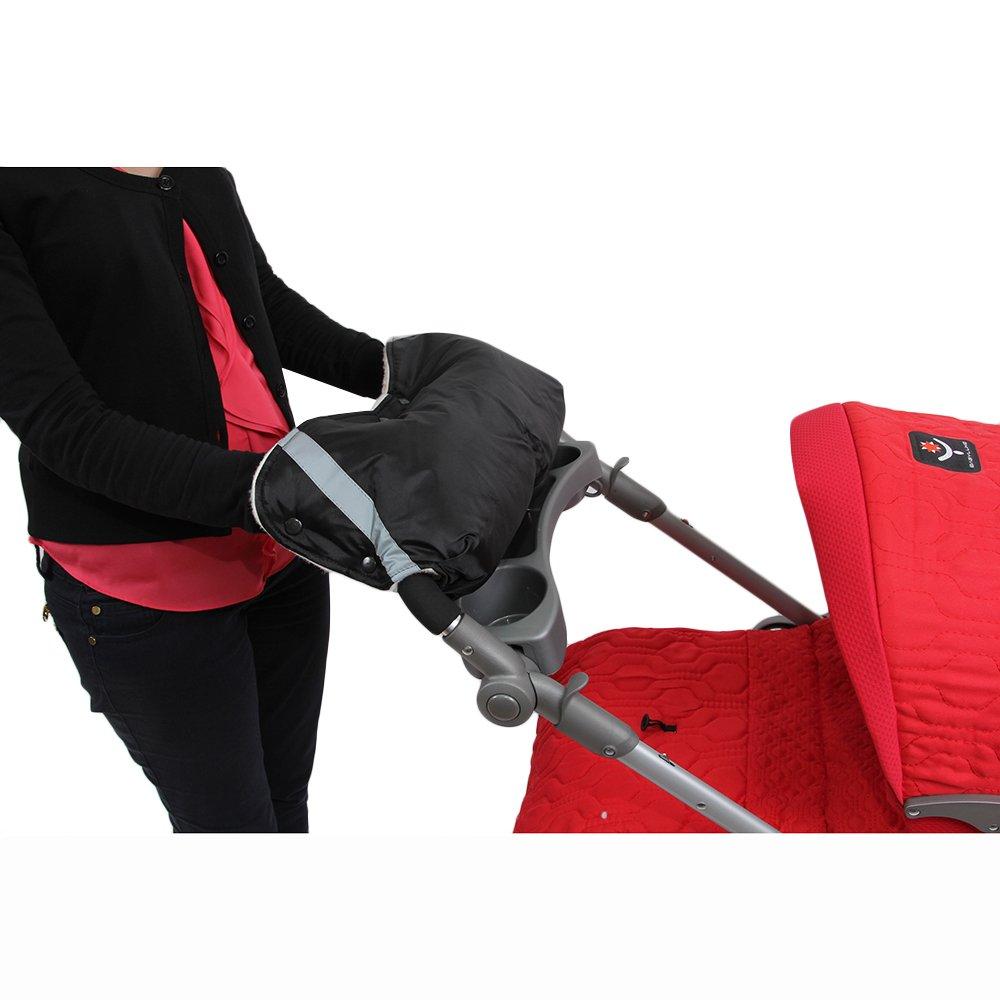 Купить BAMBOLA Муфта для коляски шерстяной мех+плащевка+кнопки Черная [053В], Россия, Муфты для рук
