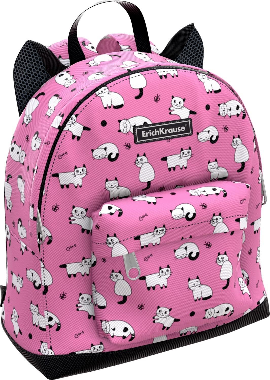 Купить Рюкзак EasyLine. Mini Animals. Cats , 25x11x27 см [44884], Erichkrause, Розовый, полиэстер, Рюкзаки и ранцы для школы