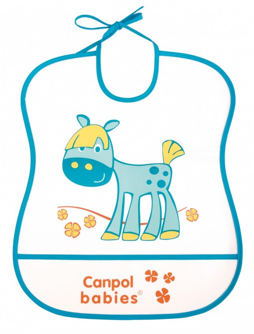 Купить CANPOL Нагрудник из мягкого пластика Лошадка , цвет: бирюзовый [250930230], Бирюзовый, пластик, Текстиль, Нагрудники и слюнявчики