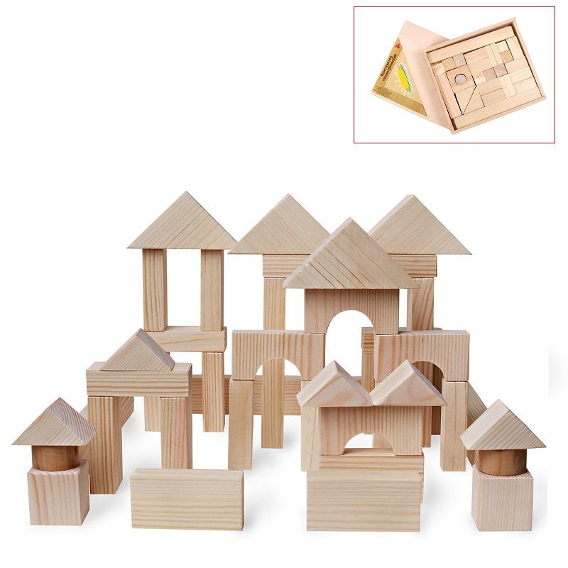Купить PAREMO Деревянный конструктор, 51 деталь, неокрашенный, в деревянном ящике [PE117-7], Дерево, Конструкторы