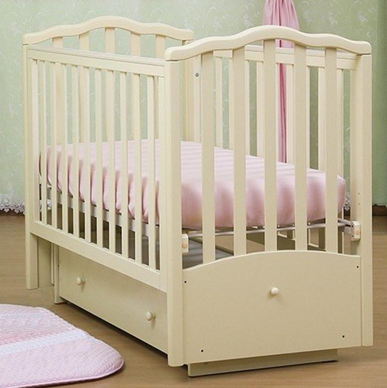 Купить Детская кроватка Кубаньлесстрой АБ 17.2 Лилия Люкс (69 x 106, 5 x 128 см) Слоновая кость, слоновая кость, Кроватки детские