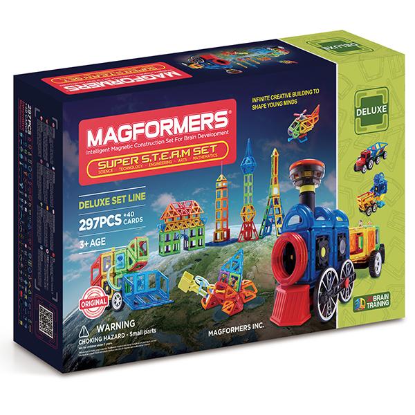 Купить Магнитный конструктор MAGFORMERS 710009 Super Steam set, пластик, магнит, Для мальчиков и девочек, Китай, Конструкторы