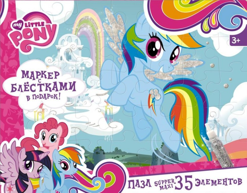 Купить ORIGAMI Пазл-супер макси My Little Pony. Радуга Дэш , 35 элементов [02110/O], 250 x 180 x 40 мм, Картон, Пазлы