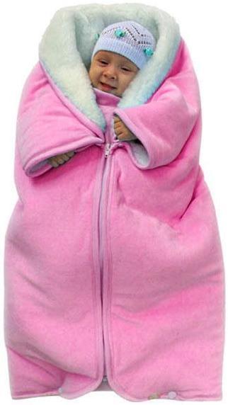 Купить 12346429, ЗОЛОТОЙ ГУСЬ Плед - конверт мех-велюр розовый, [30026], Покрывала, подушки, одеяла для малышей