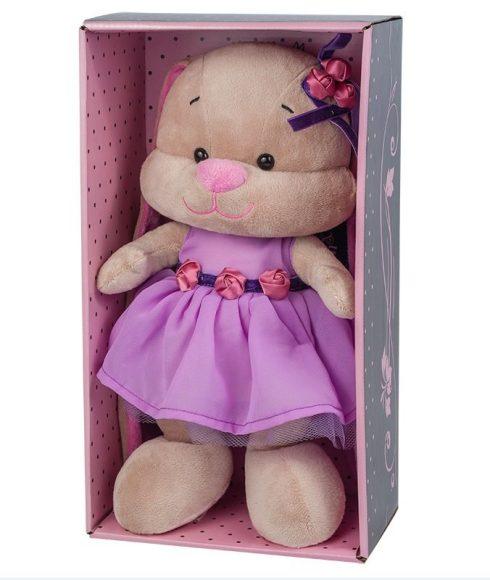 Купить JACK LIN Мягкая игрушка Jack&Lin Зайка в фиолетовом платье, 25 см [JL-021-25-КСО], Текстиль, мех искусственный, фурнитура из пластмассы, Мягкие игрушки
