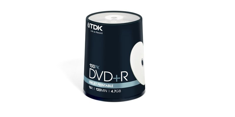 Диск TDK DVD+R 4.7Gb 16x Cake Box Printable (100шт) (t19920) DVD+R47PWWCBED100