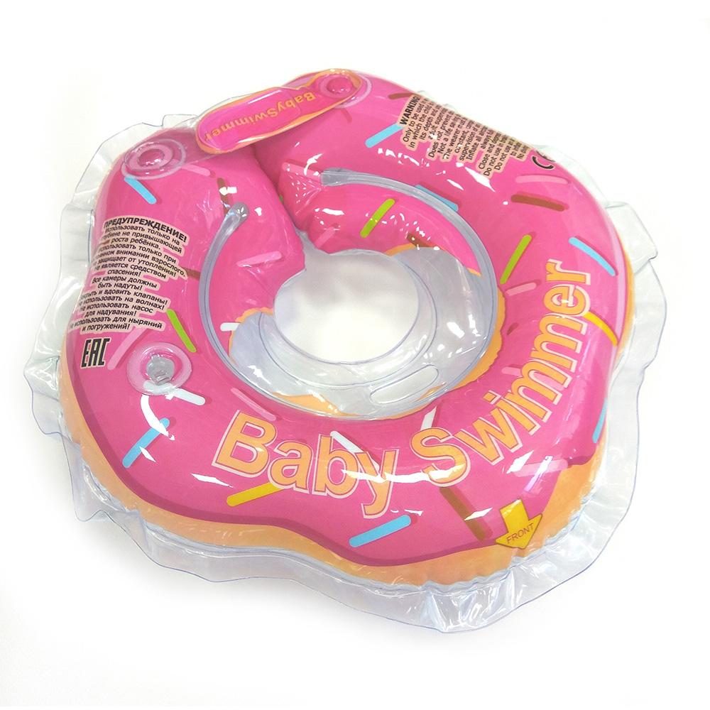 Купить BABY SWIMMER Круг для купания ( 3-12кг) Розовый Пончик Полуцвет [BS01P ], Китай, Круги на шею для купания малышей