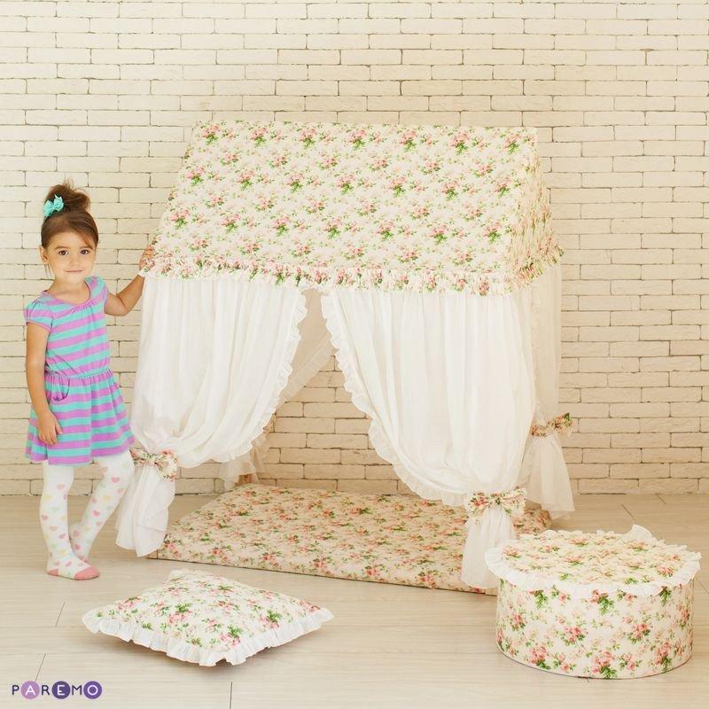 Купить PAREMO Текстильный домик-палатка с пуфиком Дворец Шахерезады [PCR116-09], Бежевый+белый, 120 x 75 x 100 см, Дерево, Текстиль, синтепон, Детские игровые домики и палатки