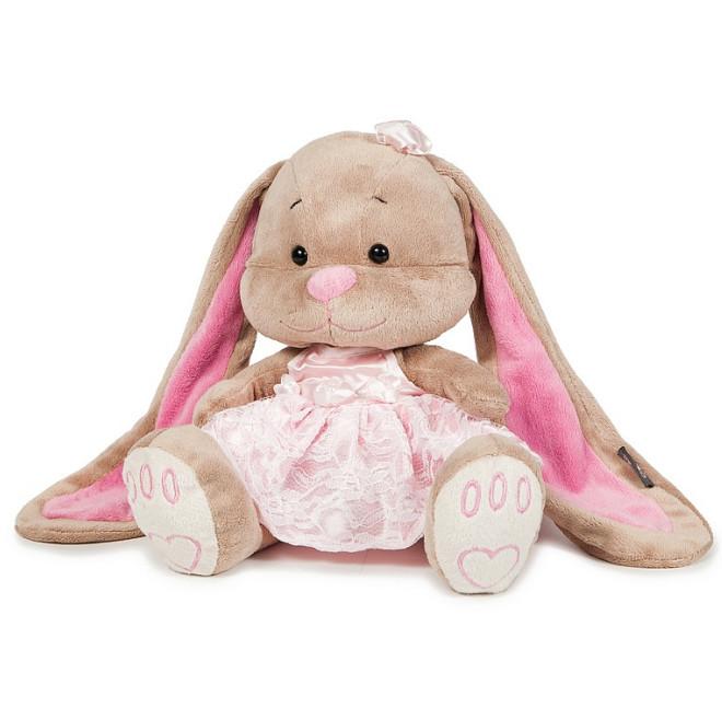 Купить JACK LIN Мягкая игрушка Зайка в розовом платье, 25 см [JL-002-25-КСО], Текстиль, мех искусственный, фурнитура из пластмассы, Мягкие игрушки
