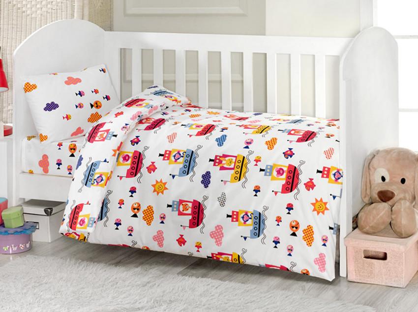 Купить KIDBOO Комплект постельного белья ТМ UPS PUPS (цвет: стандарт, серия: Пароход , 4 предмета) [00-0013343], мультиколор, 100% полиэстер/ 100% хлопок, Для мальчиков и девочек, Постельное белье для малышей