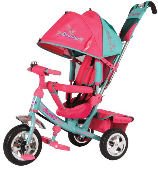 Купить BEAUTY Трехколесный велосипед Beauty с ручкой (цвет: розовый/бирюзовый) [B2MP], Бирюзовый розовый, металл, пластик, текстиль, Китай, Велосипеды для взрослых и детей