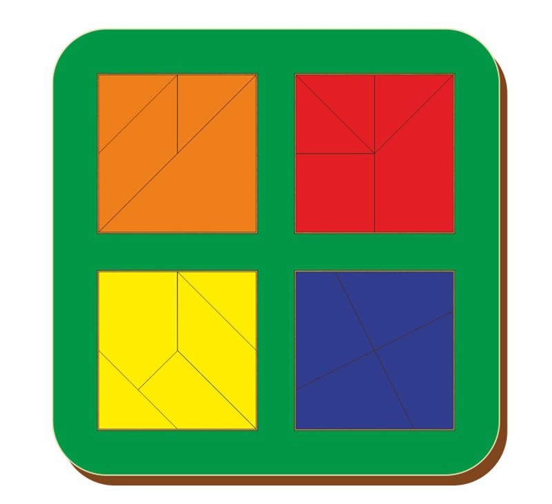 Купить Рамка-вкладыш WOODLAND 064206 Сложи квадрат 4 квадрата, уровень 3, Дерево и фанера, Для мальчиков и девочек, Россия, Обучающие материалы и авторские методики для детей
