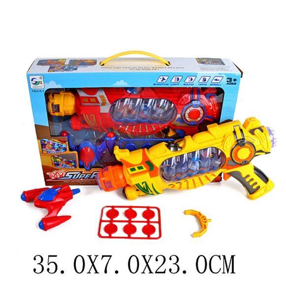Купить НАША ИГРУШКА Бластер Shantou Gepai , свет, звук, вибрация, стреляет дисками [AK618-2], пластмасса, Игрушечное оружие и бластеры