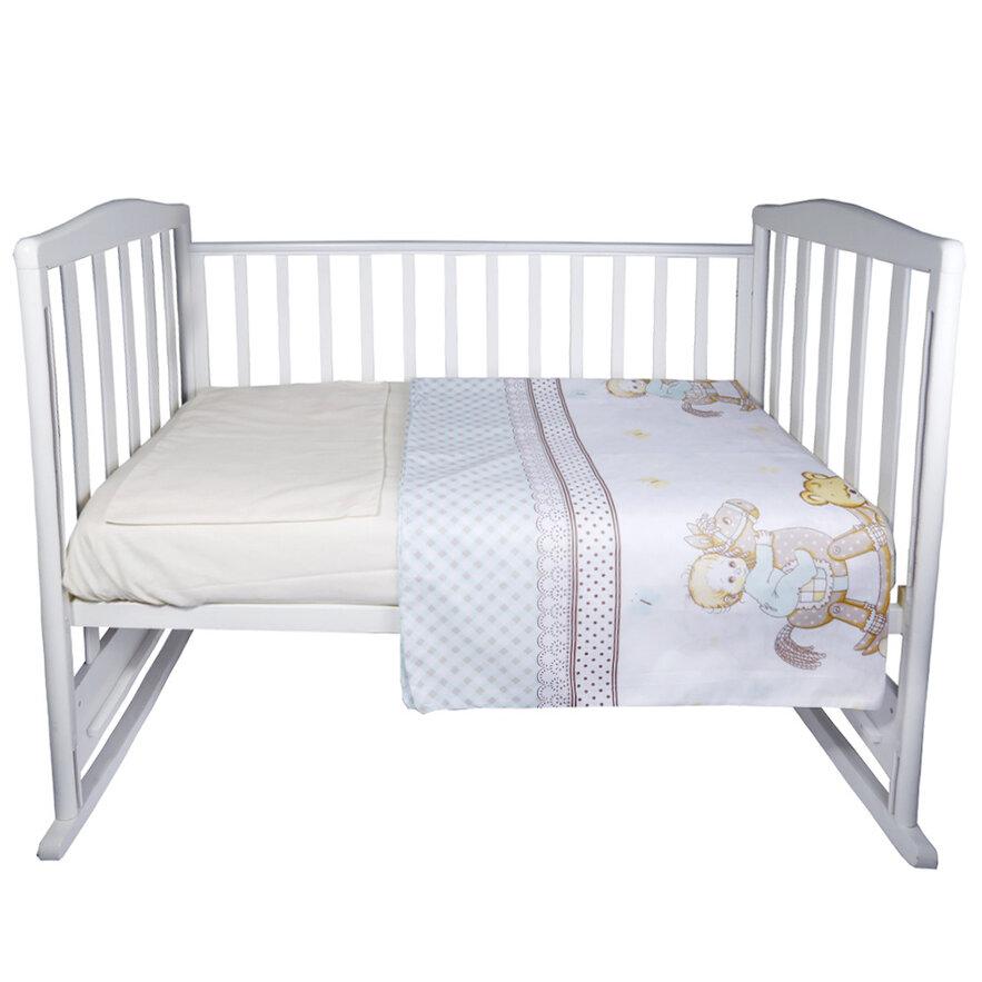 Купить ЭДЕЛЬВЕЙС Комплект в кроватку Моя лошадка (3 предмета, цвет: бирюзовый) [УТ0010286], Бирюзовый, бязь, Постельное белье для малышей