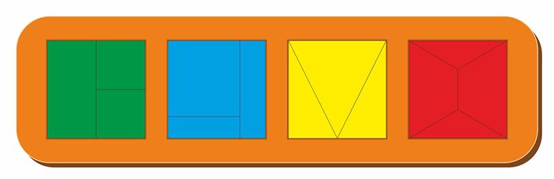 Купить Рамка-вкладыш WOODLAND 064502 Сложи квадрат 4 квадрата, уровень 1, Дерево и фанера, Для мальчиков и девочек, Россия, Обучающие материалы и авторские методики для детей