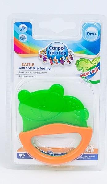 Купить CANPOL Погремушка с эластичным прорезывателем Мишка , цвет: зеленый [250930509], Зеленый, Этиленвинилацетат, ABC-пластик, Погремушки и прорезыватели