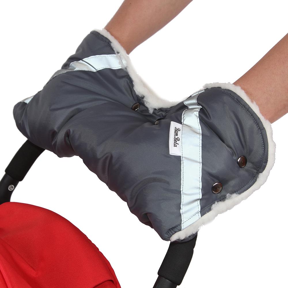 Купить BAMBOLA Муфта для коляски шерстяной мех+плащевка+кнопки Серая [053В], Россия, Муфты для рук