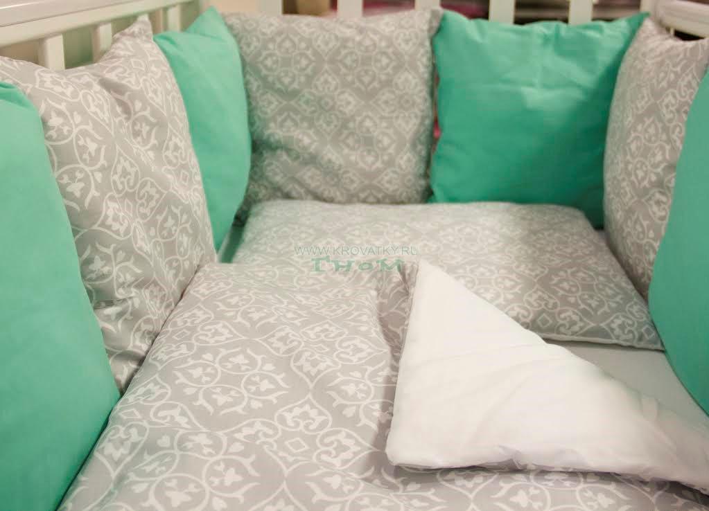 Купить 12360177, ByTWINZ Комплект постельного белья 3 предмета Дамаск изумруд [КПБ3-ДАМАСК_МАЛ], Постельное белье для малышей