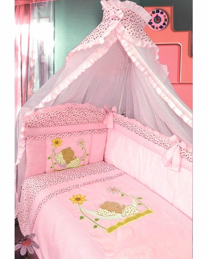 Купить ЗОЛОТОЙ ГУСЬ Комплект в кроватку Сладкий сон (цвет: розовый, 7 предметов) [1096], Хлопок, Для девочек, Постельное белье для малышей