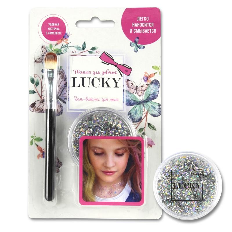 Купить Lucky гель-блестки д тела/лица, в наборе с кисточкой, цвет: серебро, на блистере [Т11926], Disney