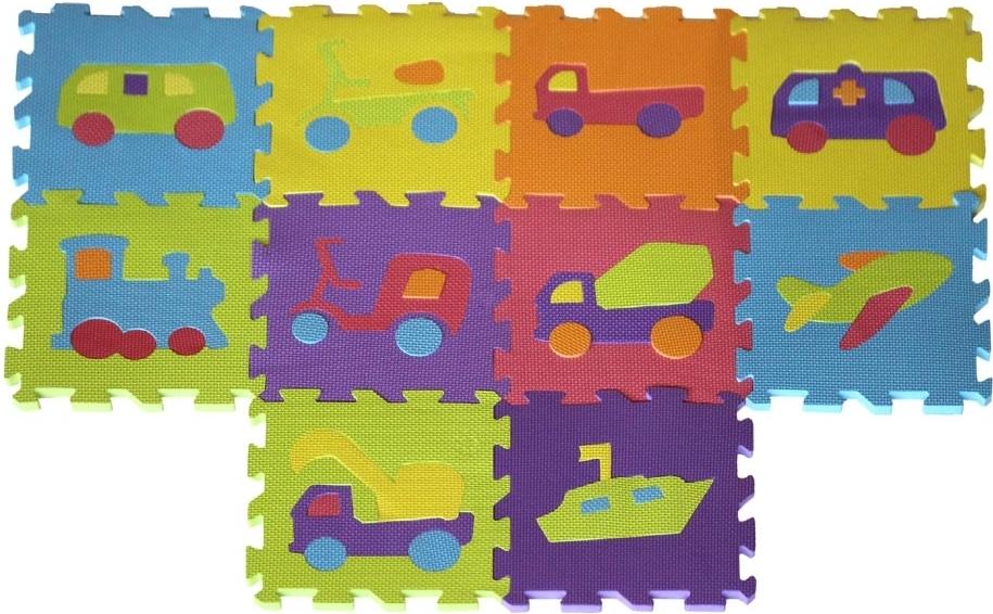 Купить МЕГА ИГРУШКА Коврик-пазл с вынимающимися элементами (виды транспорта), матеиал - EVA, 10 сегм., р-р сегм. 29*29см [JB202264], Мега игрушка, Пазлы