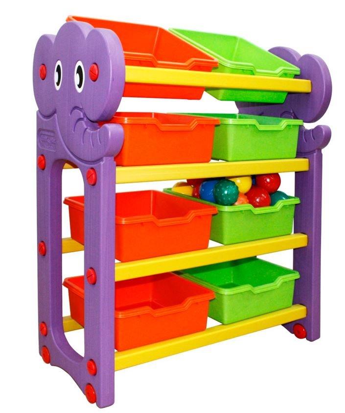 Купить HAPPY BOX Стеллаж для хранения игрушек (4 секции) [JM-809A], пластик, Принадлежности для хранения игрушек