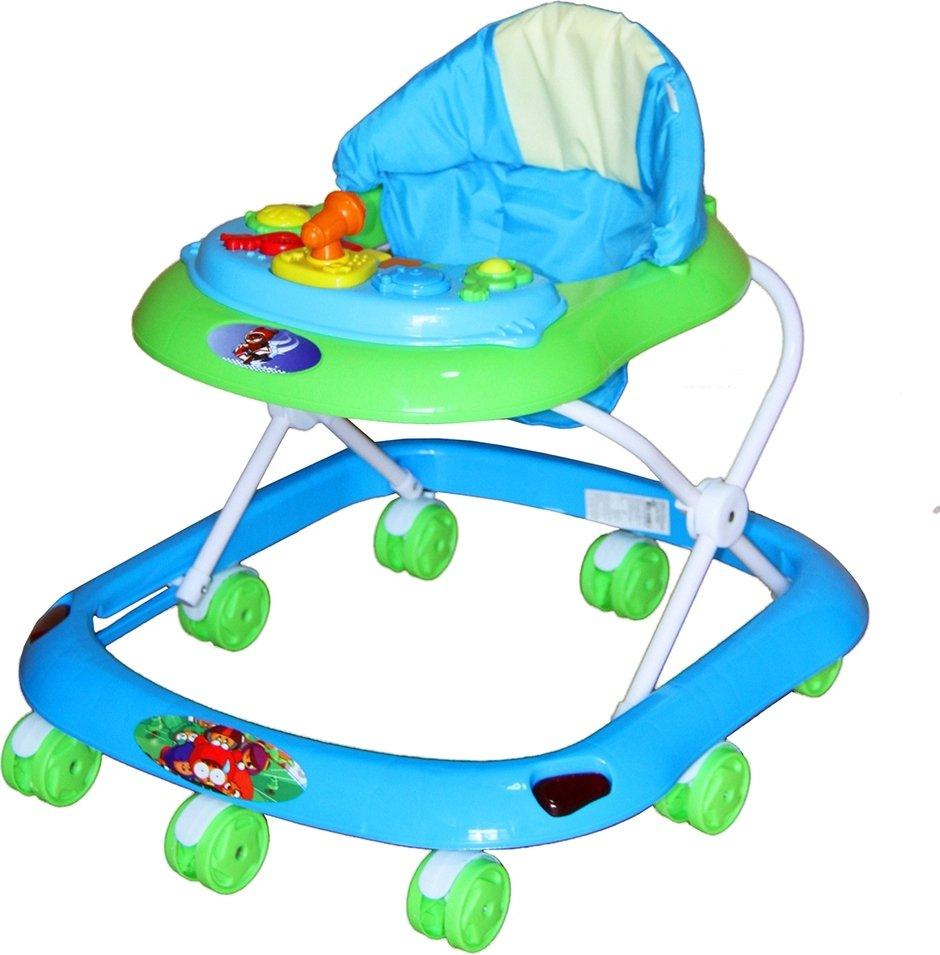 Купить BAMBOLA Ходунки КАПИТАН (8 колес, игрушки, муз) 6 шт в кор (67x63x52) LIGHT BLUE+GREEN голубой [SR102], Ходунки и прыгунки для малышей
