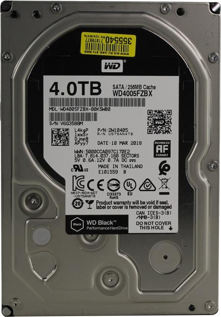 Жесткий диск 4 Тб Western Digital WD Black (WD4005FZBX) 3.5