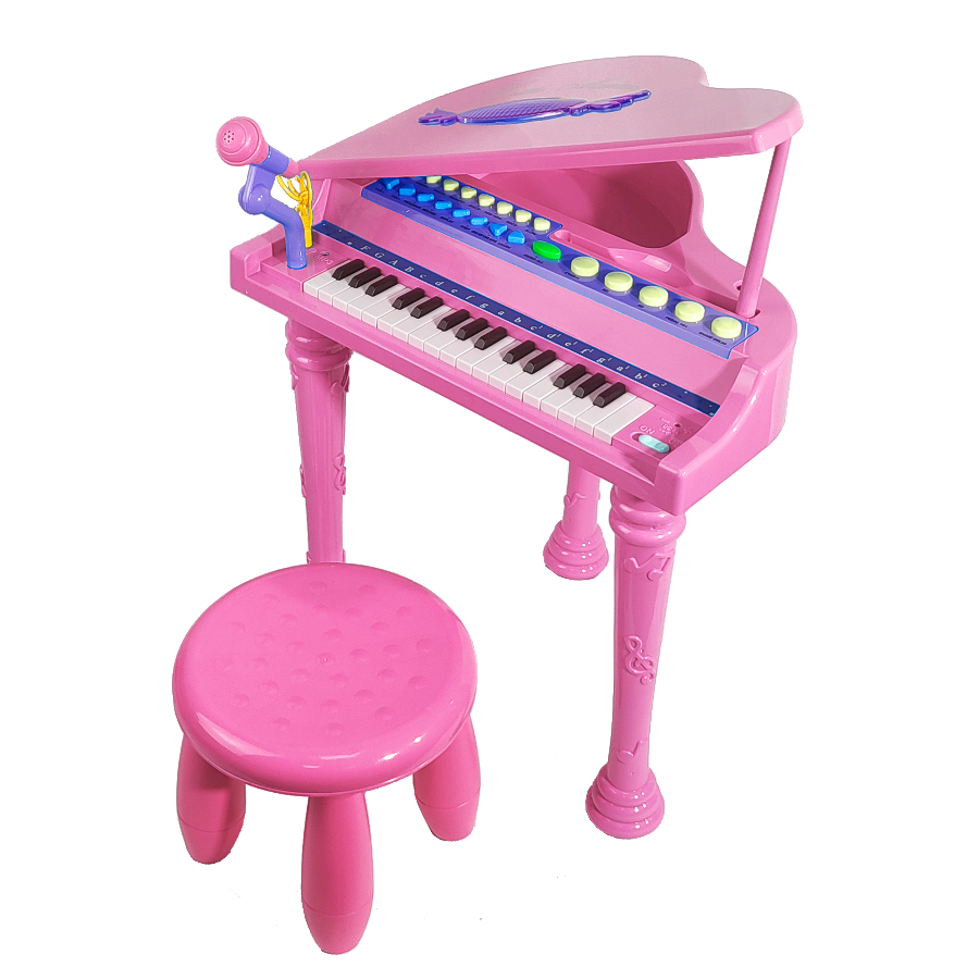 Детское пианино со стульчиком (2669-3205A) розовое, 32 клавиши фото