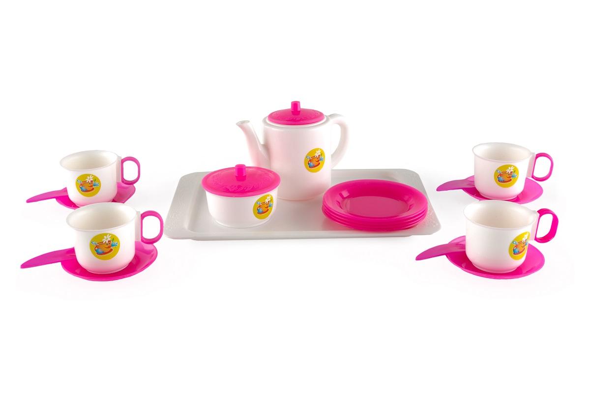 Купить Набор детской посуды ПЛАСТМАСТЕР 21001 Чайный, пластмасса, Для девочек, Россия, Игрушечная еда и посуда