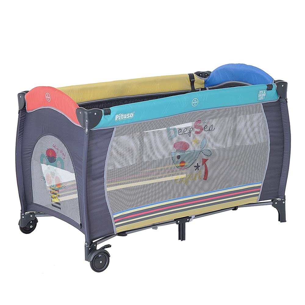 Купить P613-MIX01, PITUSO Манеж-кровать GRANADA ПЕСИК 2-уровневый на молнии лаз пласт кольца 4шт, 2 колеса 120*60*, Китай, Манежи для малышей