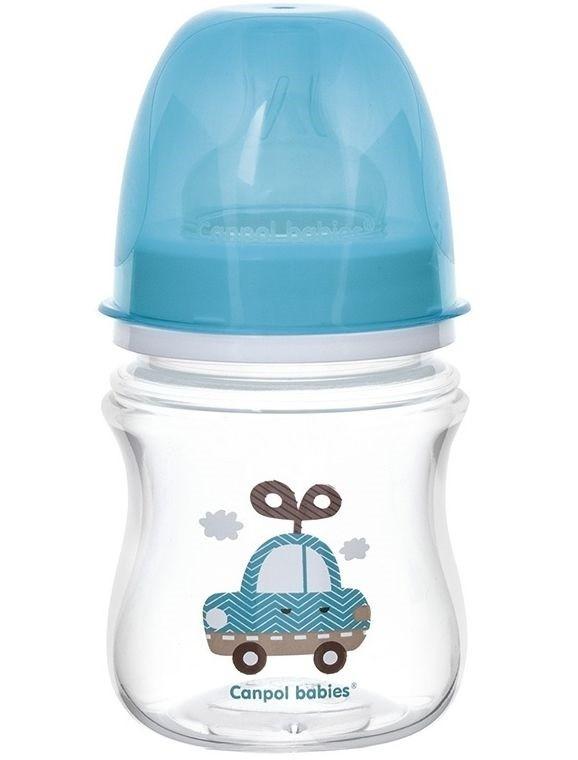 Купить CANPOL Бутылочка Canpol EasyStart с широким горлышком, антиколиковая, 120 мл, от 3 месяцев, цвет: голубой [35/220], полипропилен, Польша, Бутылочки и ниблеры для малышей