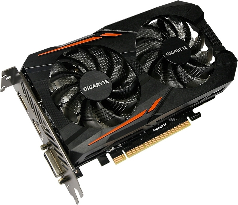 Видеокарта PCIE16 GTX1050 2GB GDDR5 GV-N1050OC-2GD V1.1 GIGABYTE, NVIDIA GeForce GTX 1050, Китай  - купить со скидкой