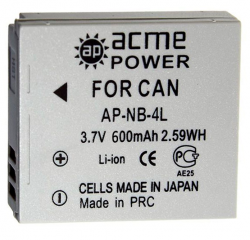 Аккумулятор Acmepower AP-NB-4L для Canon (3.7V, 600 mAh, Li-ion)
