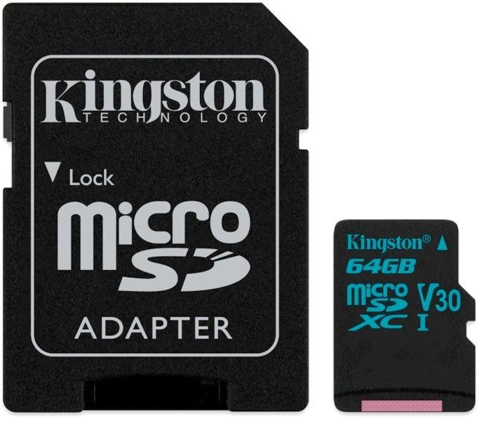 Карта памяти 64Gb MicroSD Kingston Class 10 + адаптер (SDCG2/64GB)