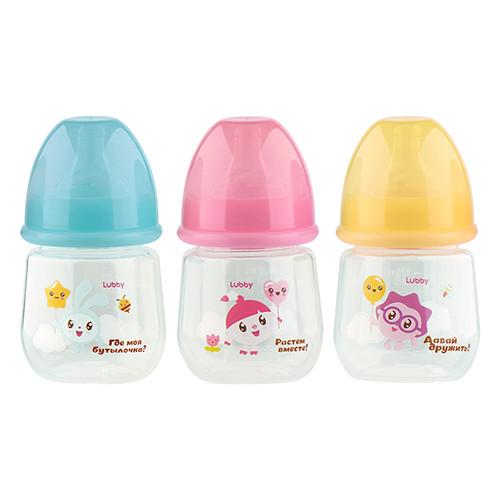 Купить LUBBY Бутылочка Малышарики , от 0 месяцев, 125 мл [20900/144/12], в ассортименте, полипропилен, Бутылочки и ниблеры для малышей