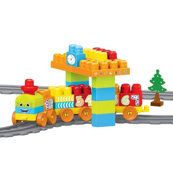 Купить DOLU Моя первая железная дорога с конструктором, 58 эл., 224 см [DL_5081], 90 x 18 x 51 см, Наборы игрушечных железных дорог, локомотивы, вагоны
