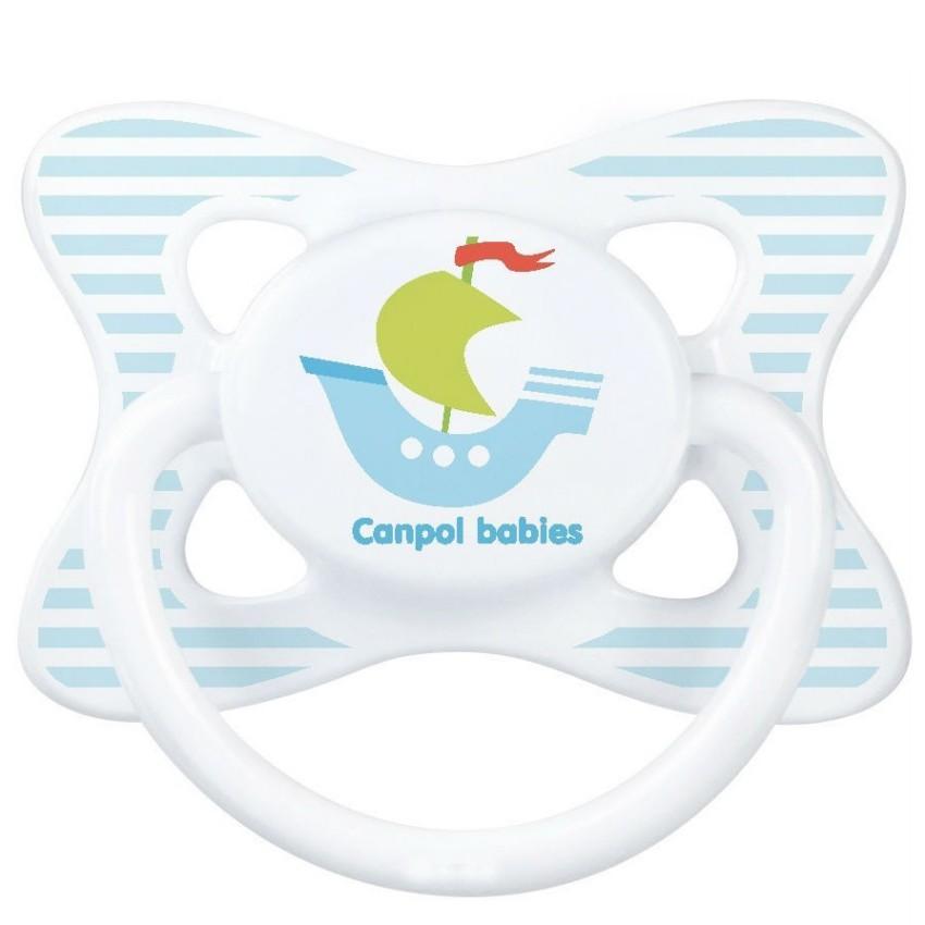 Купить CANPOL Пустышка симметричная силиконовая Summertime , рисунок: кораблик (6-18 месяцев) [250930390], голубой, белый, Силикон, пищевой пластик, Пустышки и аксессуары