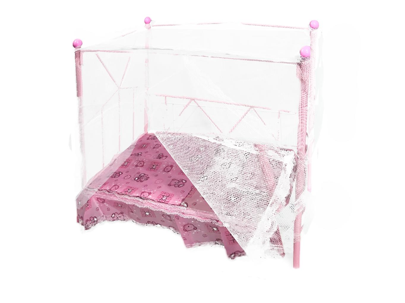 Купить Кроватка для кукол с балдахином Doll Stroller (1834-6610B-2) розовая, Китай, Мебель для кукол