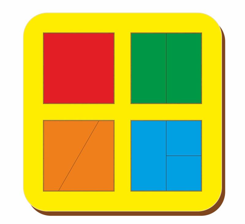 Купить Рамка-вкладыш WOODLAND 064201 Сложи квадрат 4 квадрата, уровень 1, Дерево и фанера, Для мальчиков и девочек, Россия, Обучающие материалы и авторские методики для детей