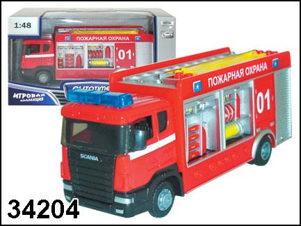 Купить AUTOGRAND Машина пожарная Scania fire station спецбригада, 1:48 [34204W-RUS], Китай, Игрушечные машинки и техника