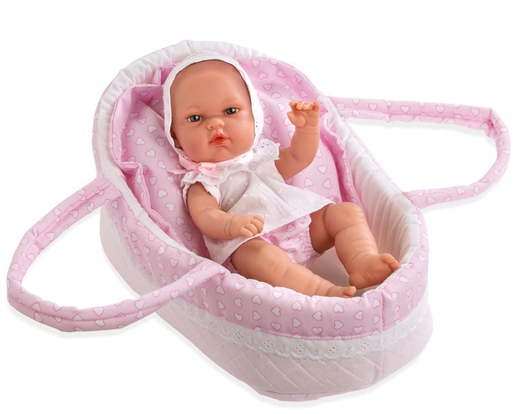 Купить MUNECAS ARIAS Пупс ARIAS Elegance в розовой люльке-переноске с подушечкой, 33 см, [Т13720], 415 x 280 x 210 мм, Текстиль, винил, Куклы и пупсы