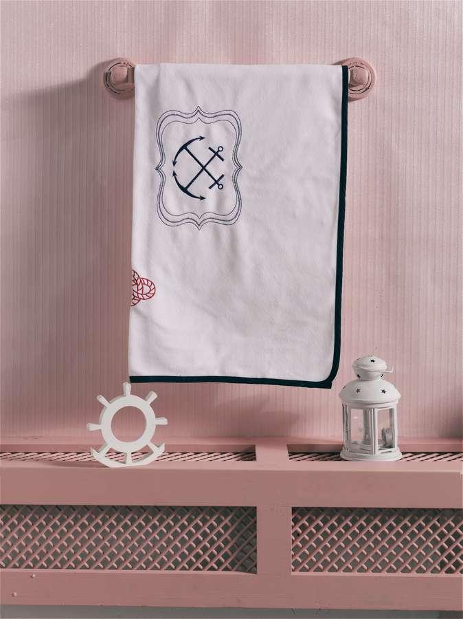 Купить KIDBOO Плед Blue Ocean (флисовый) [00-0012018], Белый синий, Для мальчиков и девочек, Покрывала, подушки, одеяла для малышей