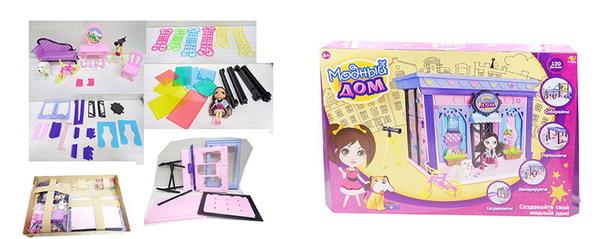 Купить ABTOYS Игровой набор Модный дом с куклой и мебелью [PT-00847], пластик, Для девочек, Китай, Кукольные домики